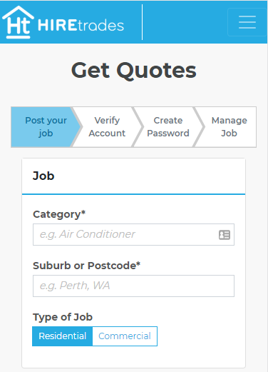 HIREtrades get quotes on mobile