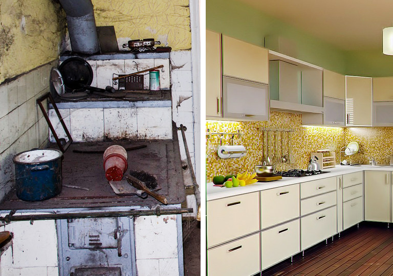 kitchen renovation before and after photo