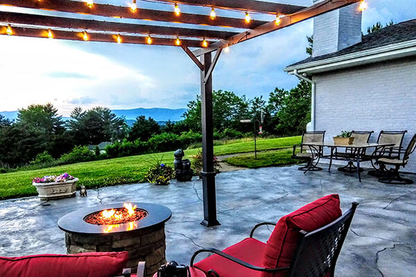 Pergola with a fireplace