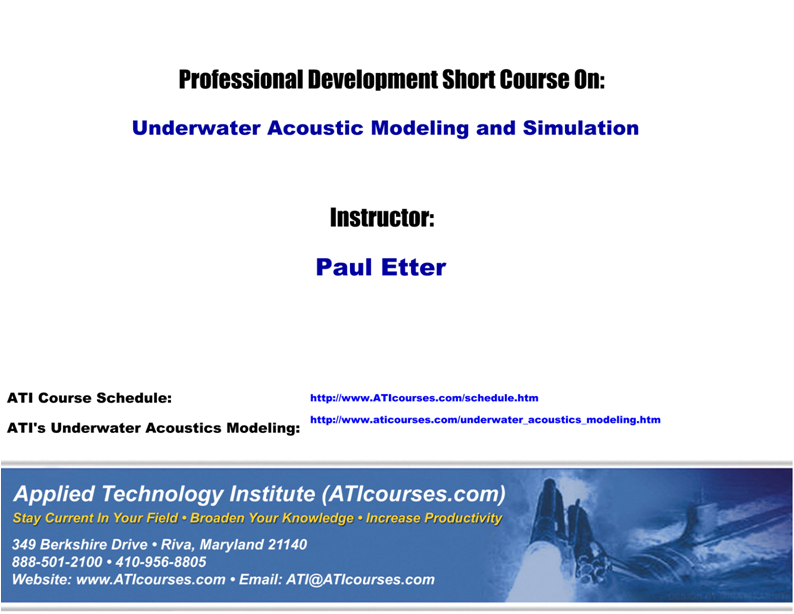 PPT – ATI Courses Technical Training Short Course Underwater