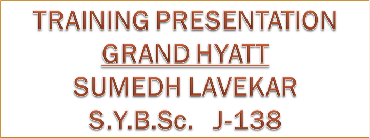 0743cb0f26f TRAINING PRESENTATIONGRAND HYATTSUMEDH LAVEKARS.Y.B.Sc. J-138