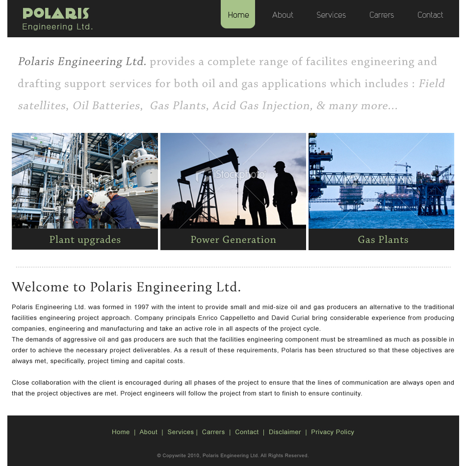 Web Page Design by Manish Khatri - Entry No. 18 in the Web Page Design Contest Polaris Engineering Ltd. requires a new re-branded landing p.