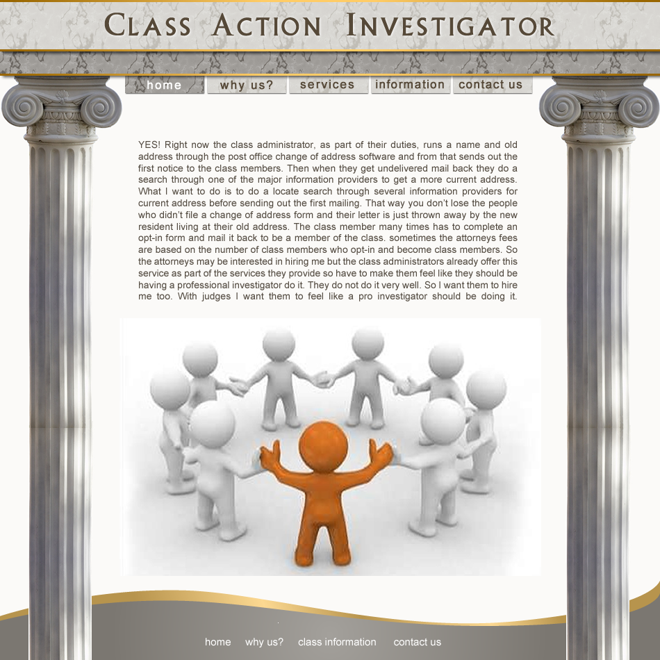 Web Page Design by Rudy - Entry No. 1 in the Web Page Design Contest Private Investigator locates class action members 4 attys/ad.