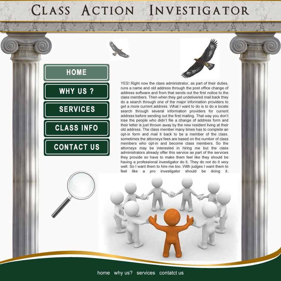 Web Page Design by Rudy - Entry No. 12 in the Web Page Design Contest Private Investigator locates class action members 4 attys/ad.