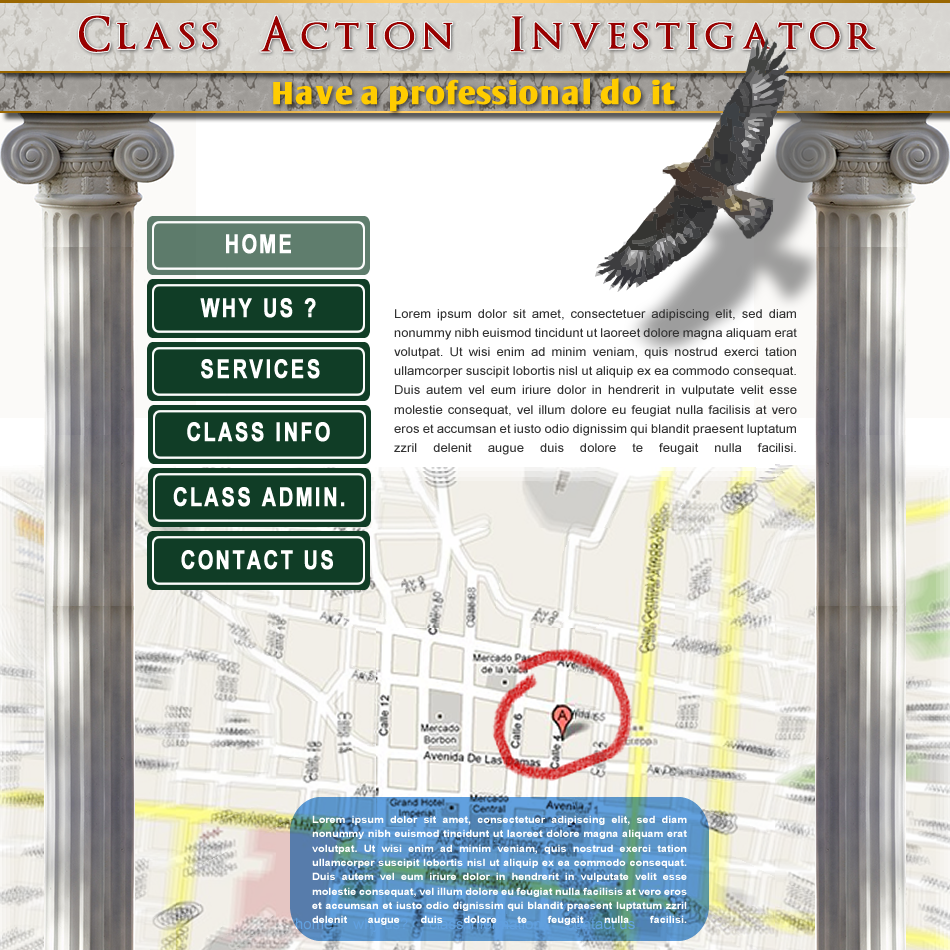 Web Page Design by Rudy - Entry No. 24 in the Web Page Design Contest Private Investigator locates class action members 4 attys/ad.