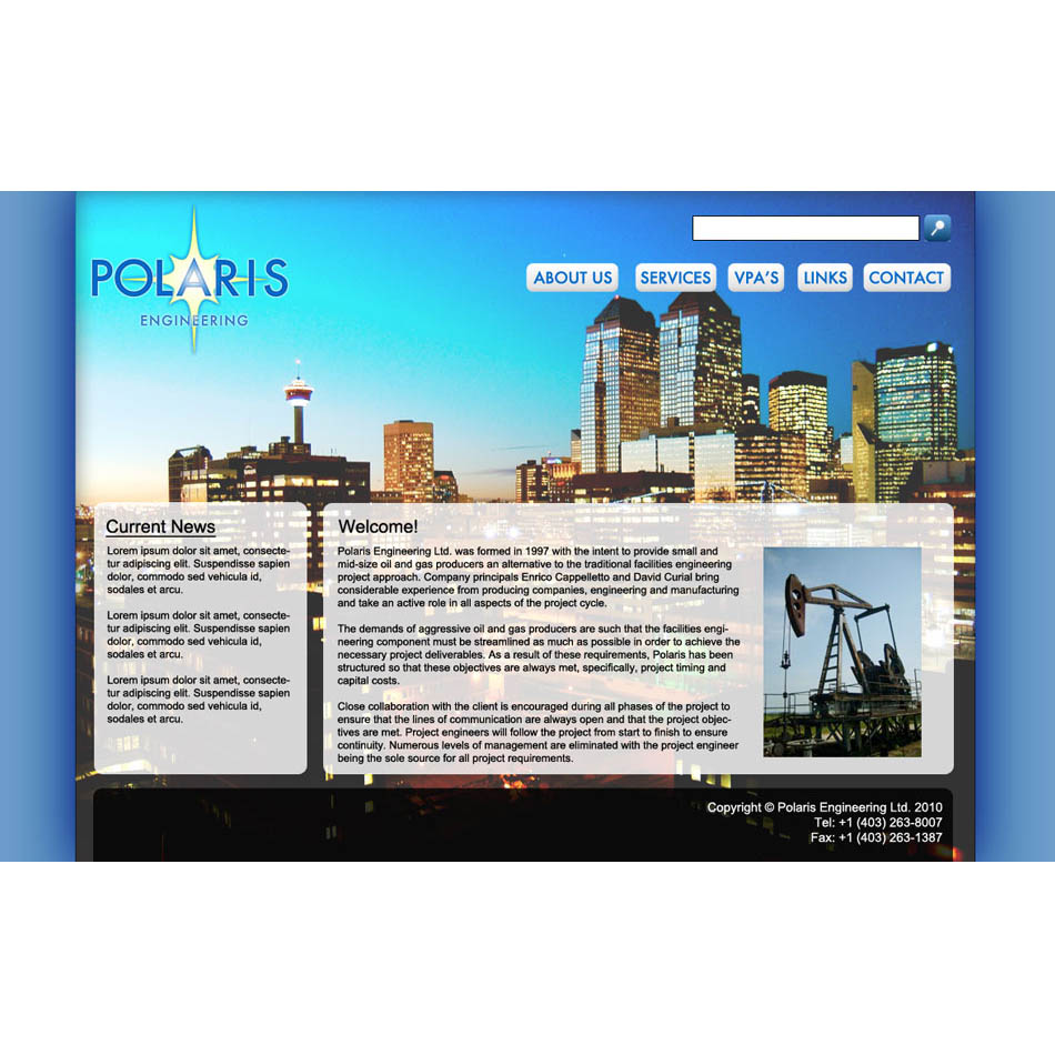 Web Page Design by Real_Creative - Entry No. 31 in the Web Page Design Contest Polaris Engineering Ltd. requires a new re-branded landing p.