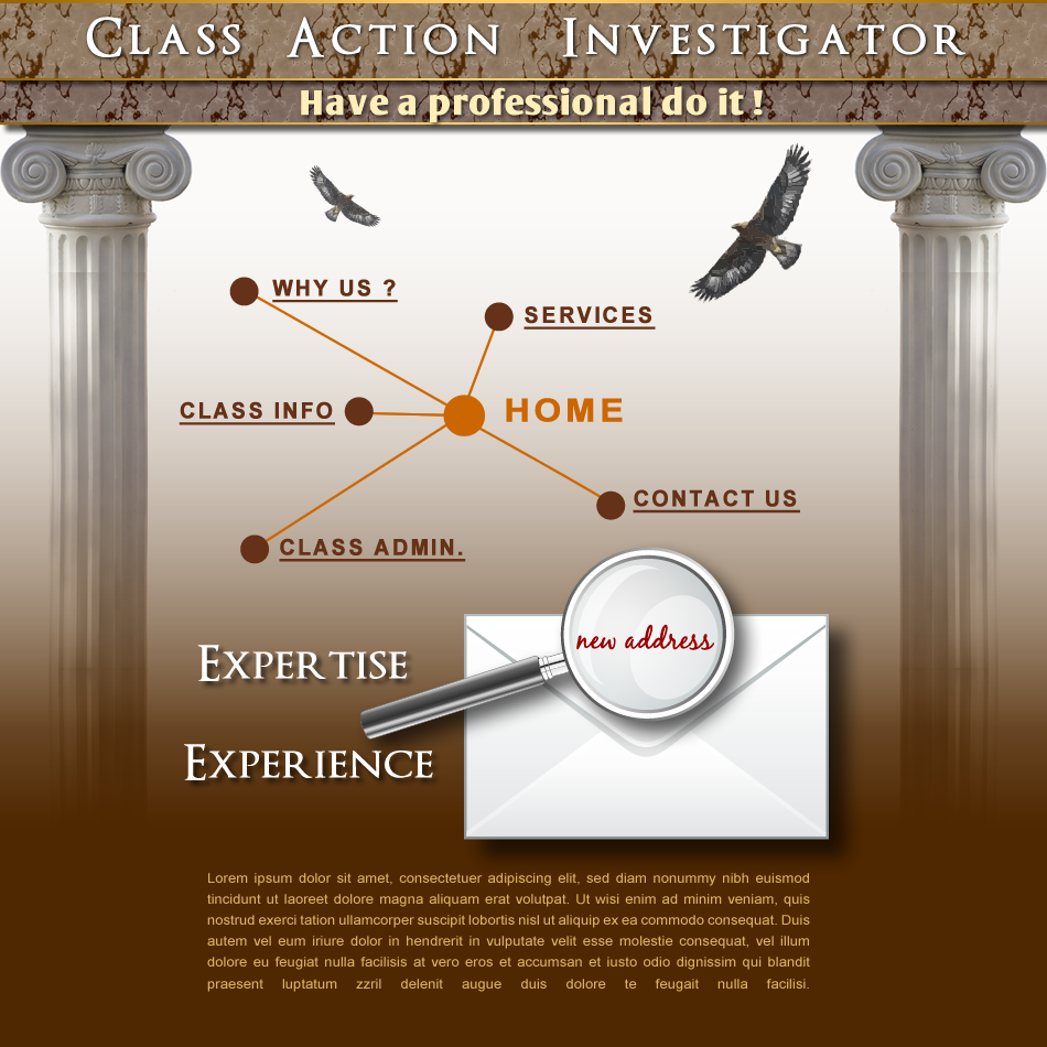 Web Page Design by Rudy - Entry No. 28 in the Web Page Design Contest Private Investigator locates class action members 4 attys/ad.