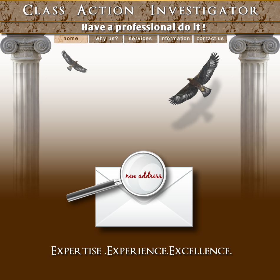 Web Page Design by Rudy - Entry No. 30 in the Web Page Design Contest Private Investigator locates class action members 4 attys/ad.