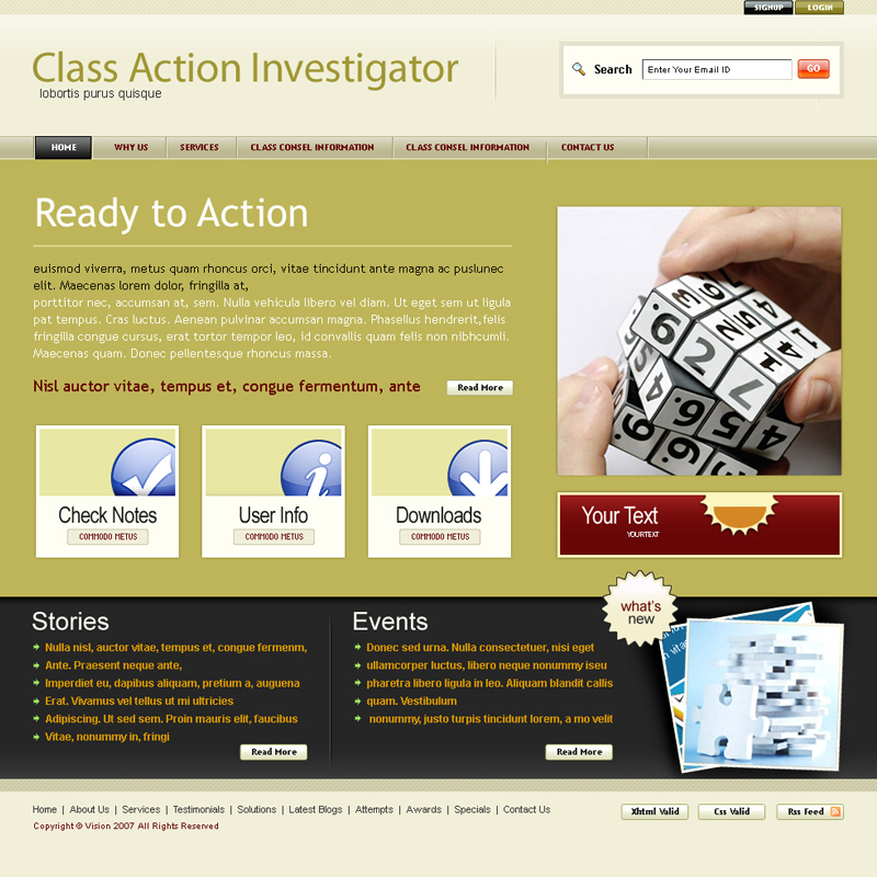 Web Page Design by uno - Entry No. 38 in the Web Page Design Contest Private Investigator locates class action members 4 attys/ad.