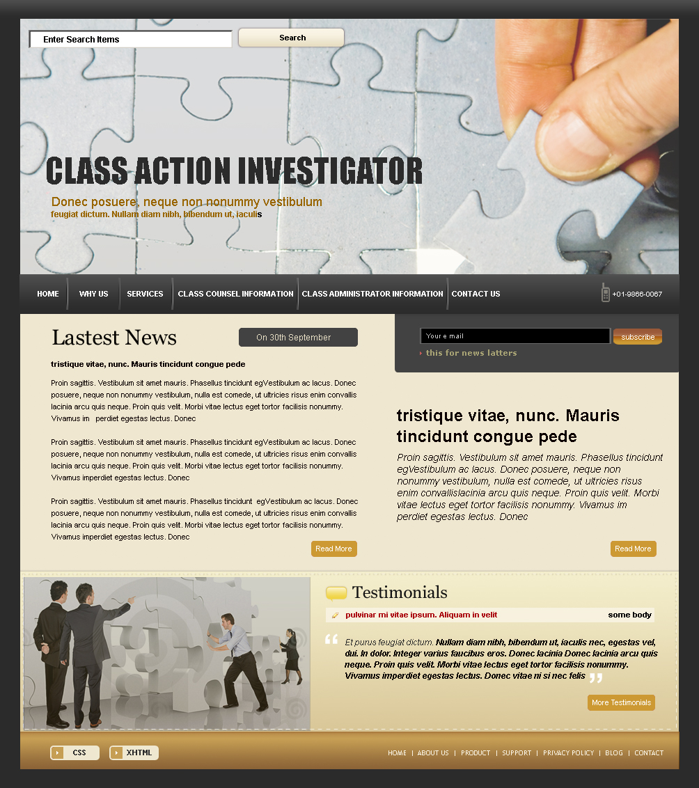 Web Page Design by uno - Entry No. 39 in the Web Page Design Contest Private Investigator locates class action members 4 attys/ad.