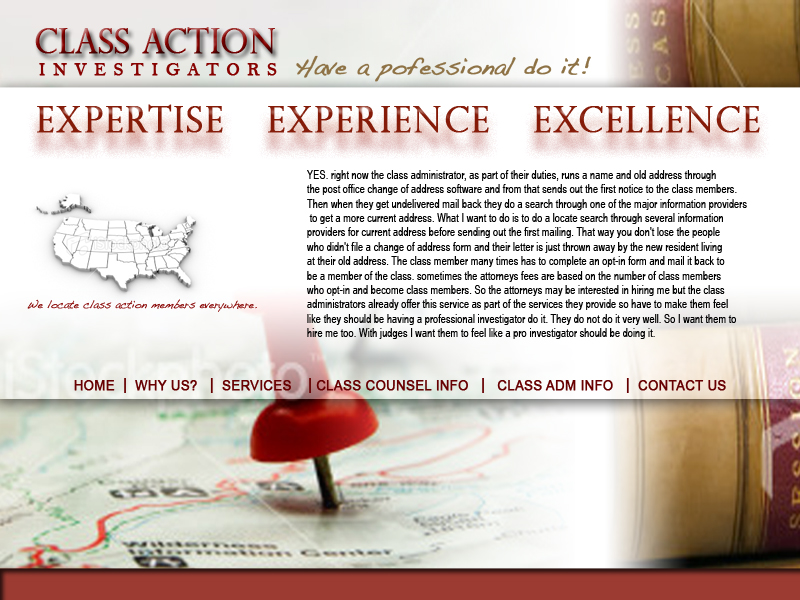 Web Page Design by keekee360 - Entry No. 53 in the Web Page Design Contest Private Investigator locates class action members 4 attys/ad.