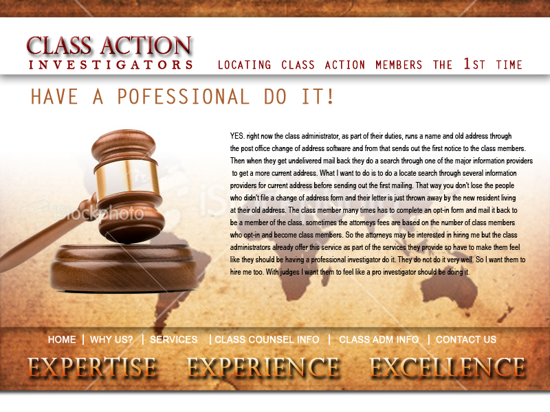 Web Page Design by keekee360 - Entry No. 54 in the Web Page Design Contest Private Investigator locates class action members 4 attys/ad.