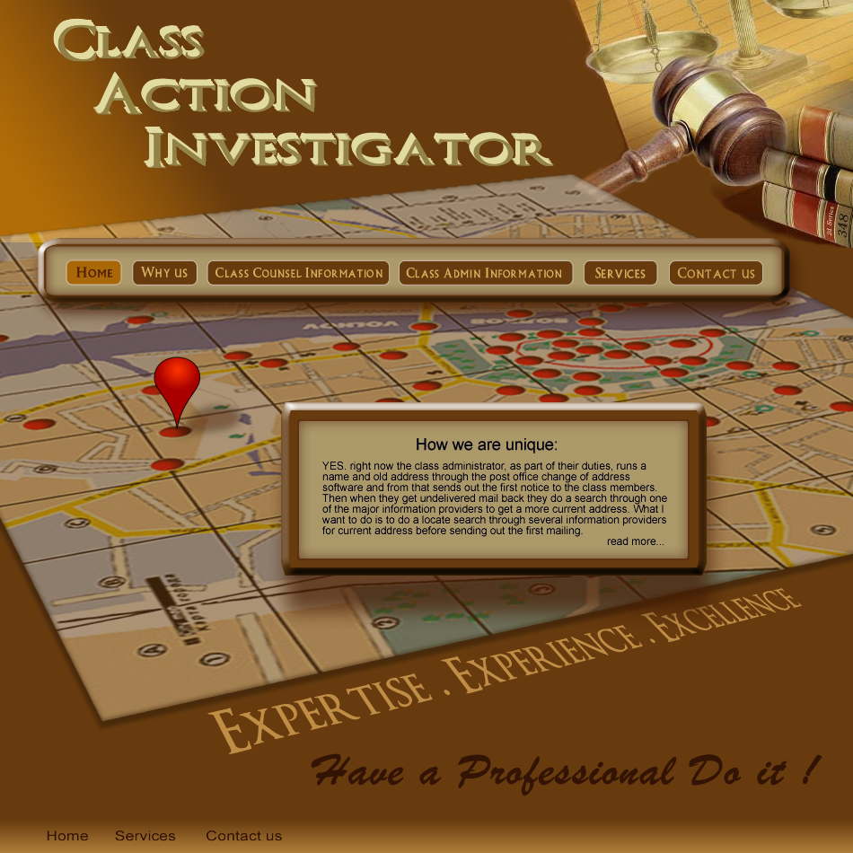 Web Page Design by Gog - Entry No. 55 in the Web Page Design Contest Private Investigator locates class action members 4 attys/ad.
