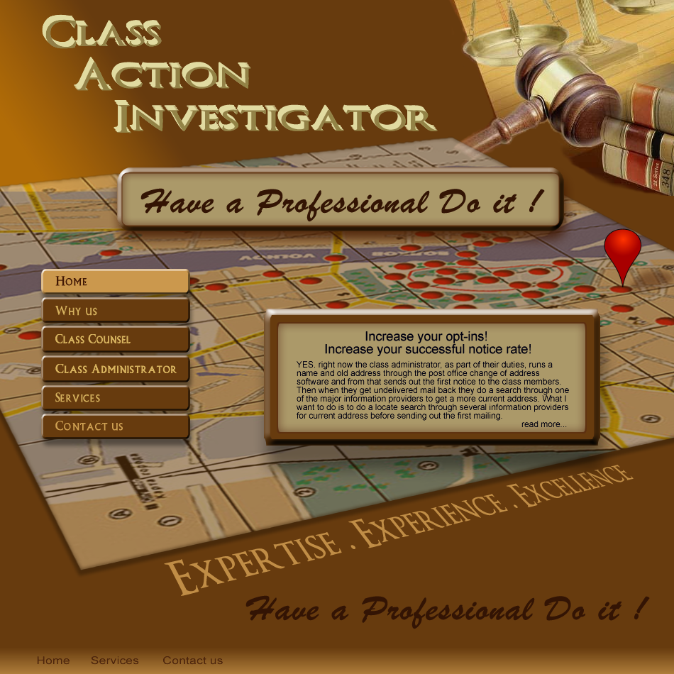 Web Page Design by Gog - Entry No. 56 in the Web Page Design Contest Private Investigator locates class action members 4 attys/ad.