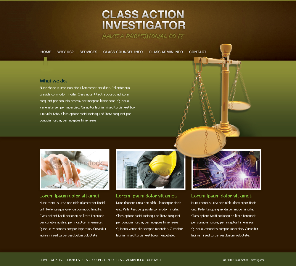 Web Page Design by amelia - Entry No. 57 in the Web Page Design Contest Private Investigator locates class action members 4 attys/ad.