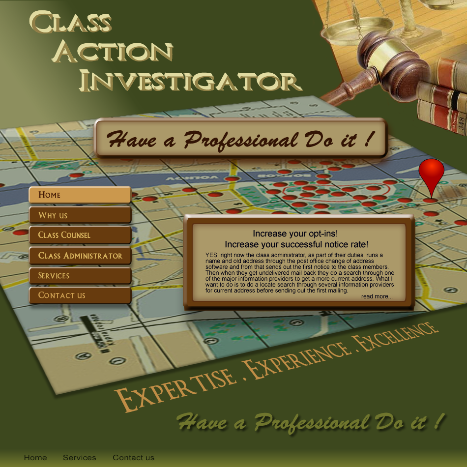 Web Page Design by Gog - Entry No. 58 in the Web Page Design Contest Private Investigator locates class action members 4 attys/ad.