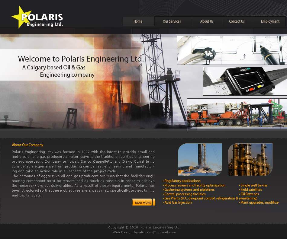 Web Page Design by aesthetic-art - Entry No. 42 in the Web Page Design Contest Polaris Engineering Ltd. requires a new re-branded landing p.