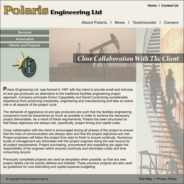 Web Page Design by vlramirez - Entry No. 47 in the Web Page Design Contest Polaris Engineering Ltd. requires a new re-branded landing p.