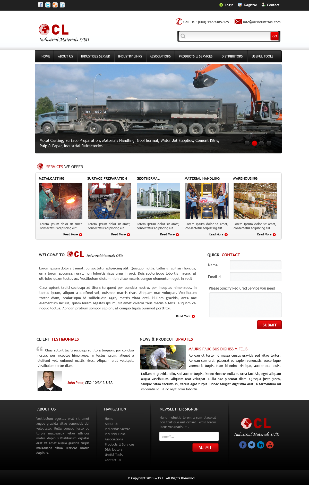 Web Page Design by Vishwa Km - Entry No. 5 in the Web Page Design Contest Imaginative Web Page Design for OCL Industrial Materials Ltd..