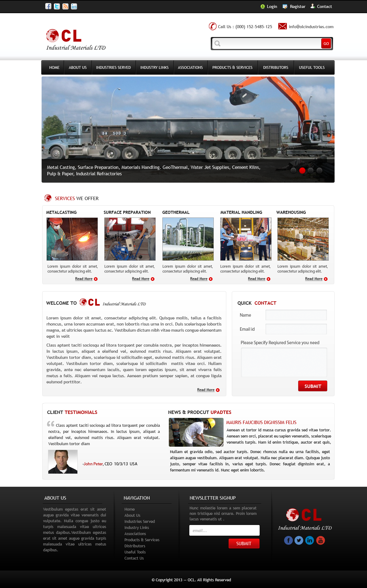 Web Page Design by Vishwa Km - Entry No. 6 in the Web Page Design Contest Imaginative Web Page Design for OCL Industrial Materials Ltd..