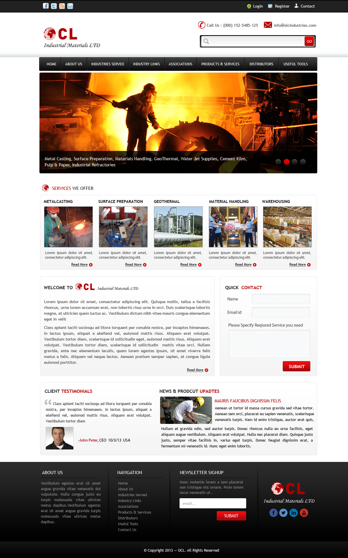Web Page Design by Vishwa Km - Entry No. 7 in the Web Page Design Contest Imaginative Web Page Design for OCL Industrial Materials Ltd..