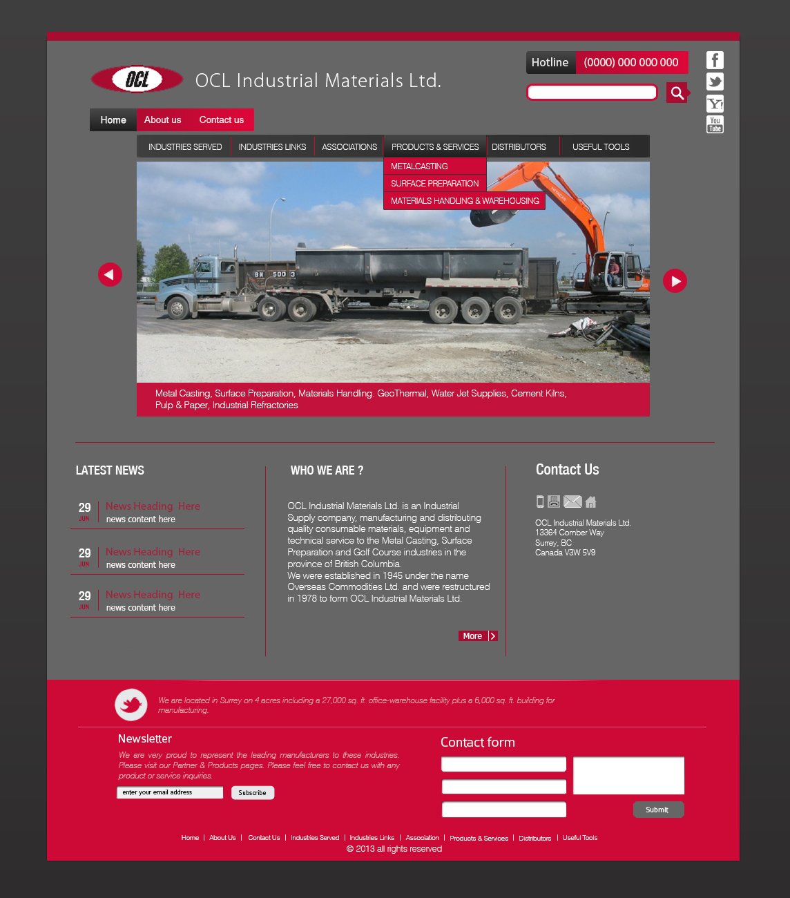 Web Page Design by 3draw - Entry No. 8 in the Web Page Design Contest Imaginative Web Page Design for OCL Industrial Materials Ltd..