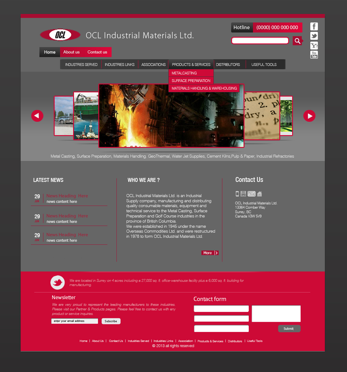 Web Page Design by 3draw - Entry No. 9 in the Web Page Design Contest Imaginative Web Page Design for OCL Industrial Materials Ltd..