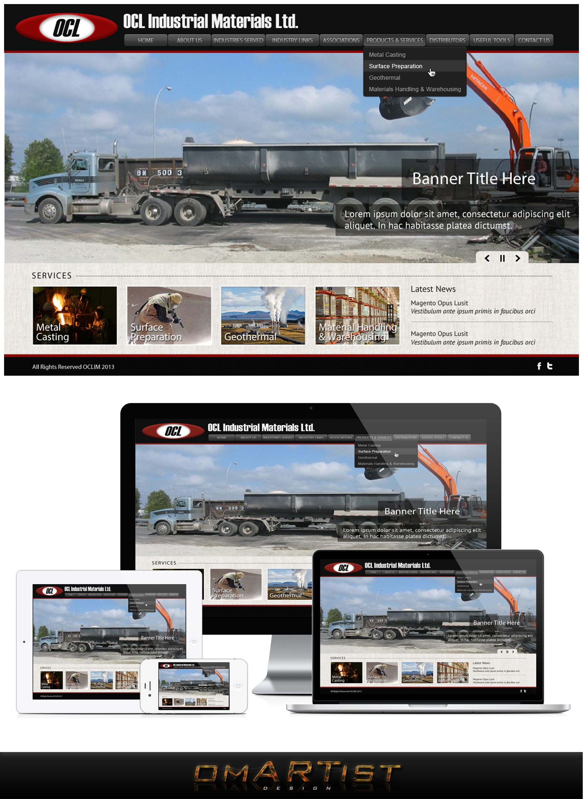 Web Page Design by omARTist - Entry No. 11 in the Web Page Design Contest Imaginative Web Page Design for OCL Industrial Materials Ltd..