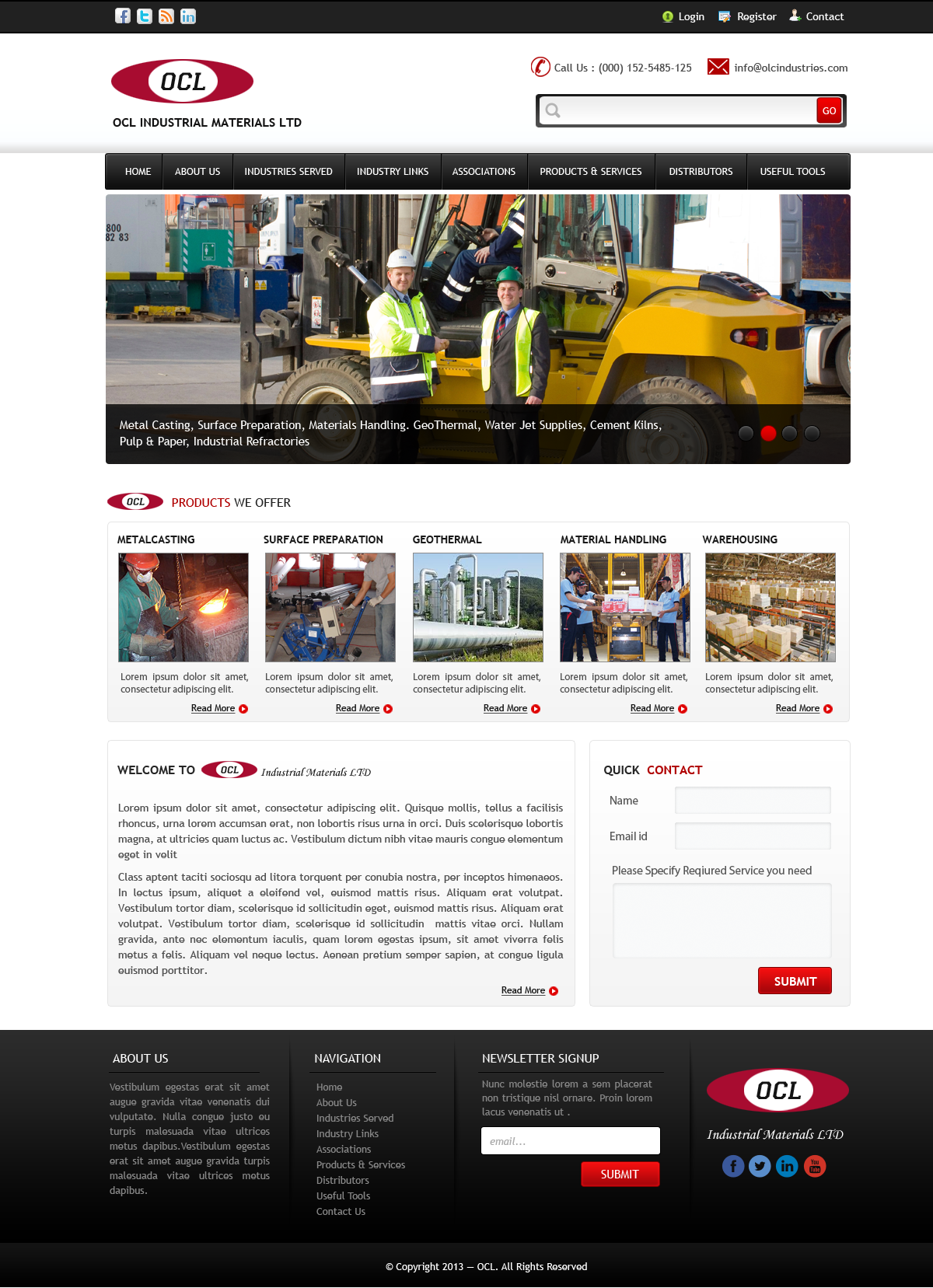 Web Page Design by Vishwa Km - Entry No. 30 in the Web Page Design Contest Imaginative Web Page Design for OCL Industrial Materials Ltd..