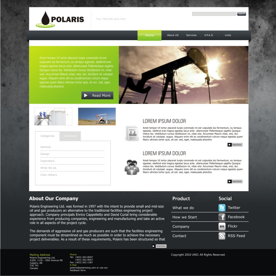 Web Page Design Contests » Polaris Engineering Ltd  requires