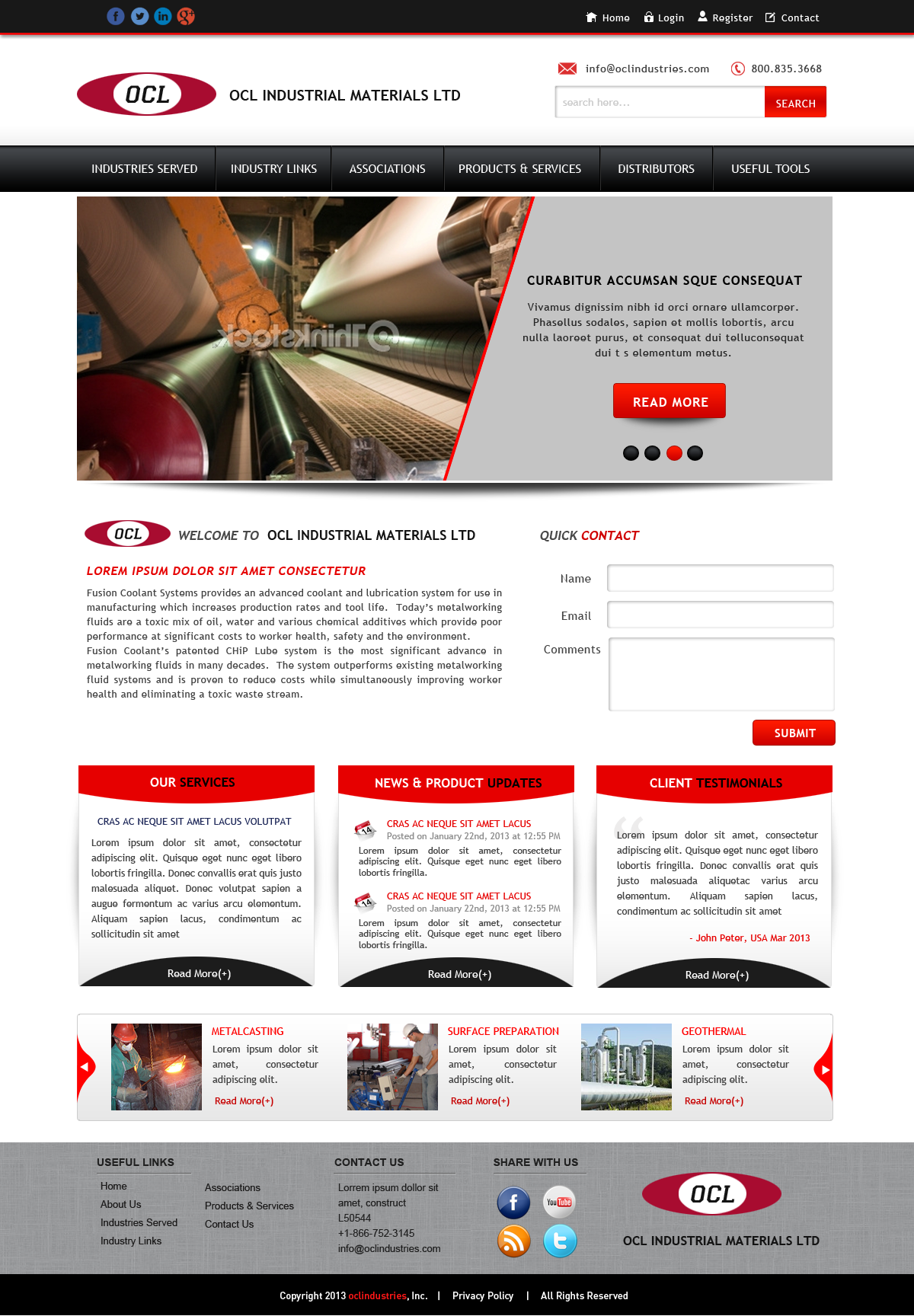 Web Page Design by Vishwa Km - Entry No. 41 in the Web Page Design Contest Imaginative Web Page Design for OCL Industrial Materials Ltd..