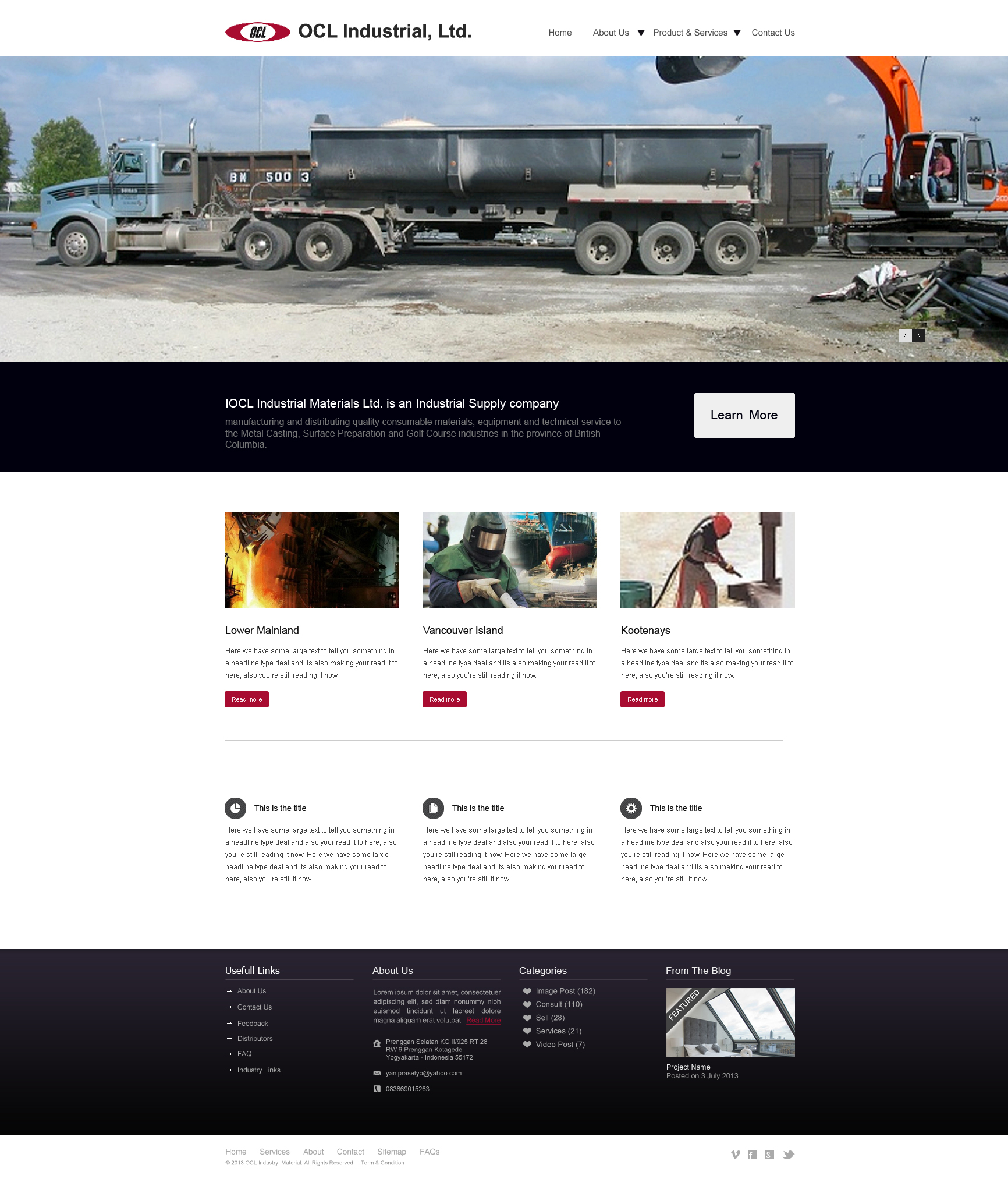 Web Page Design by Private User - Entry No. 48 in the Web Page Design Contest Imaginative Web Page Design for OCL Industrial Materials Ltd..