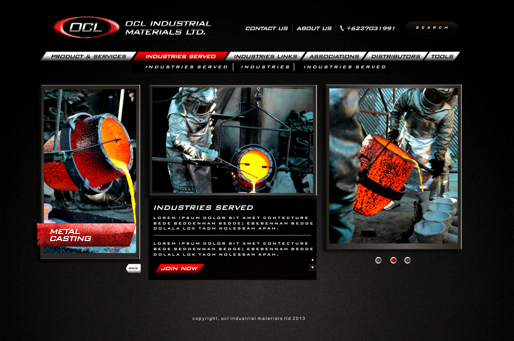 Web Page Design by Think - Entry No. 50 in the Web Page Design Contest Imaginative Web Page Design for OCL Industrial Materials Ltd..