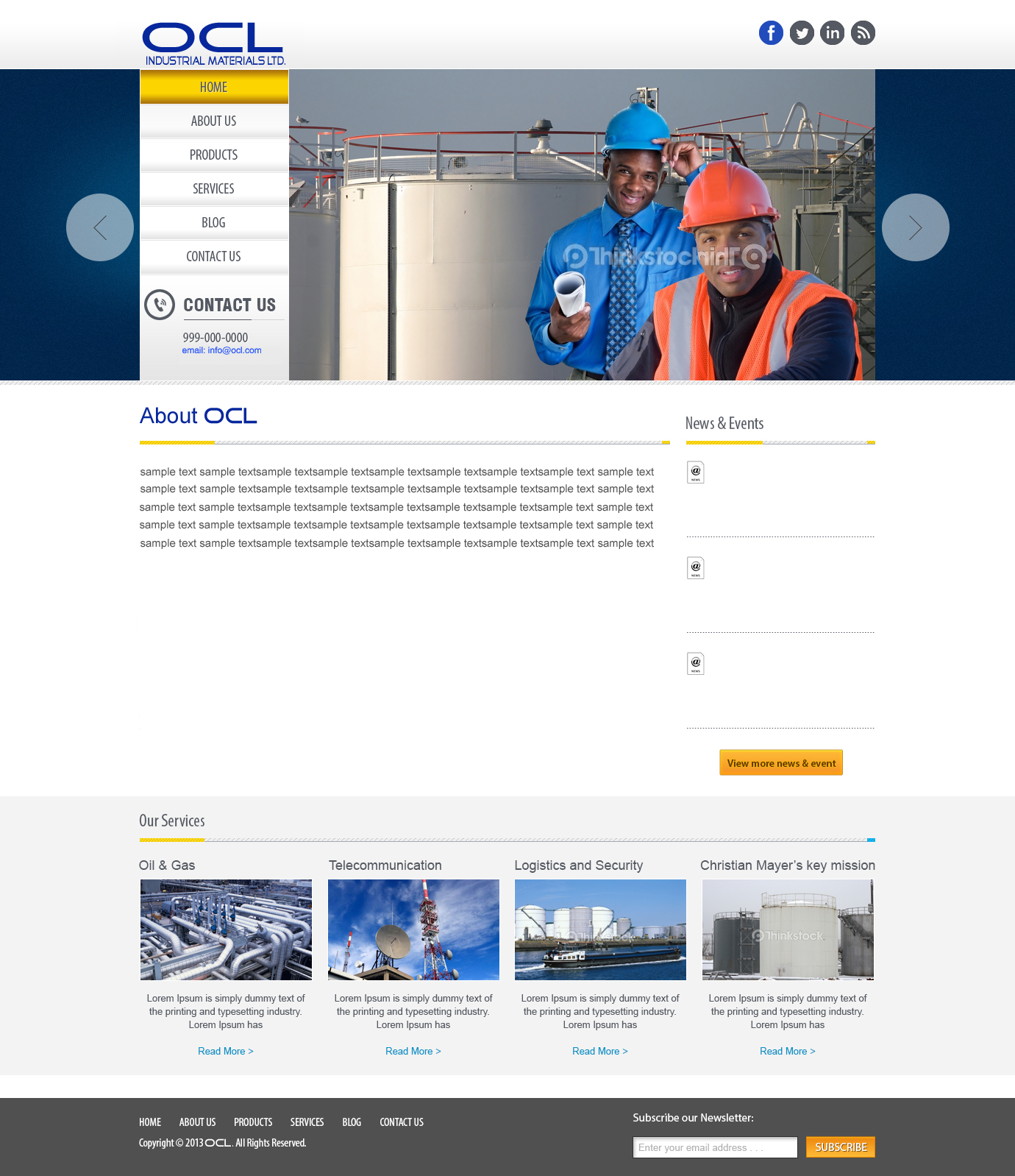 Web Page Design by Digital Designs - Entry No. 52 in the Web Page Design Contest Imaginative Web Page Design for OCL Industrial Materials Ltd..