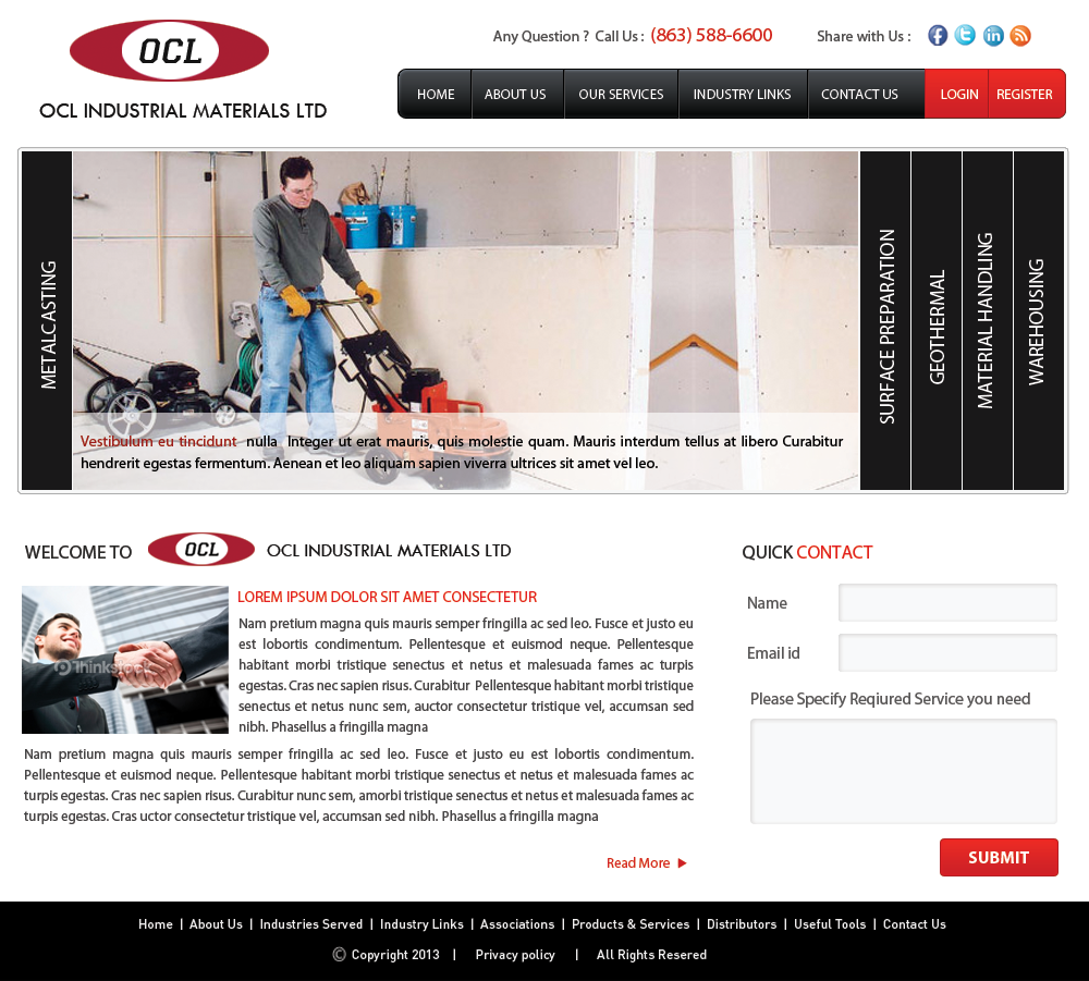 Web Page Design by Vishwa Km - Entry No. 59 in the Web Page Design Contest Imaginative Web Page Design for OCL Industrial Materials Ltd..