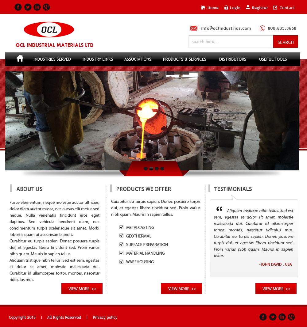 Web Page Design by Vishwa Km - Entry No. 60 in the Web Page Design Contest Imaginative Web Page Design for OCL Industrial Materials Ltd..