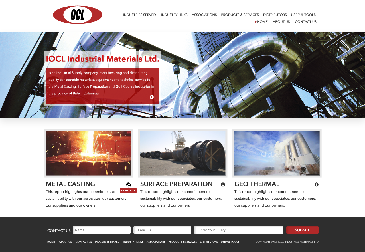Web Page Design by Web Sourcing - Entry No. 61 in the Web Page Design Contest Imaginative Web Page Design for OCL Industrial Materials Ltd..