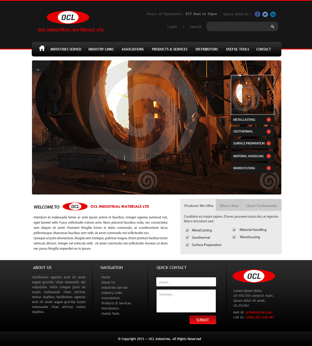 Web Page Design by Vishwa Km - Entry No. 62 in the Web Page Design Contest Imaginative Web Page Design for OCL Industrial Materials Ltd..