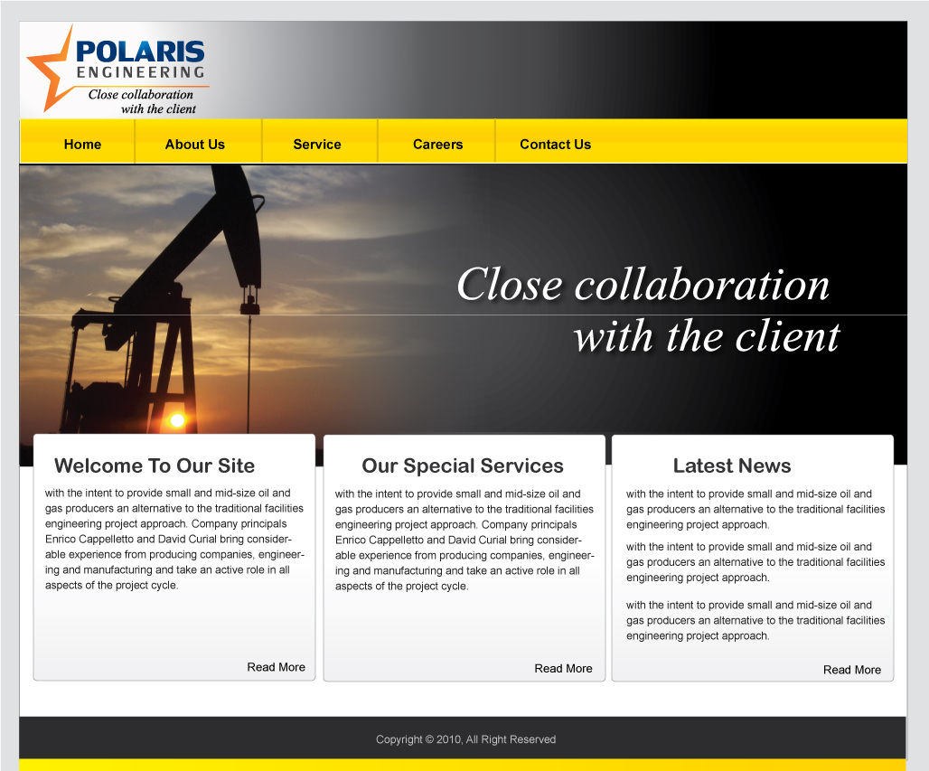 Web Page Design by Subha Islam - Entry No. 56 in the Web Page Design Contest Polaris Engineering Ltd. requires a new re-branded landing p.