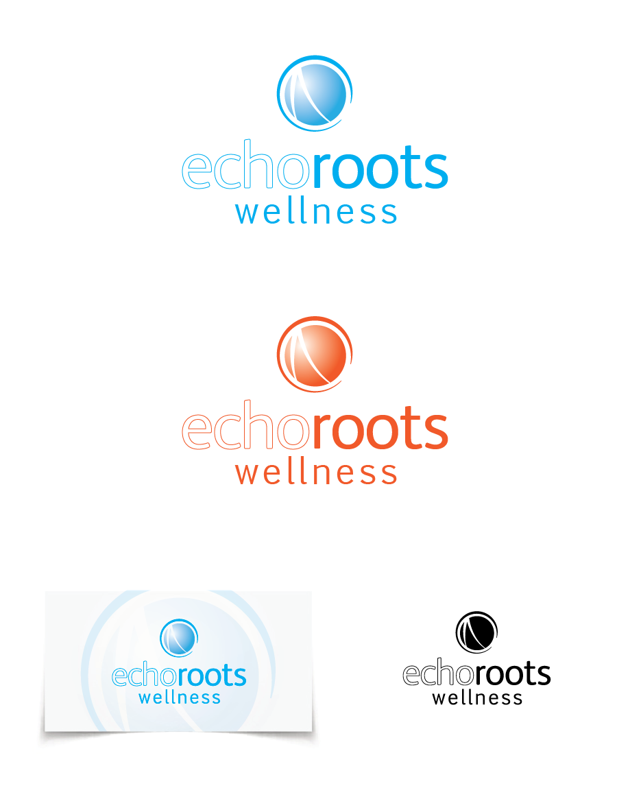 Logo Design by Christina Evans - Entry No. 64 in the Logo Design Contest Funky Logo Design for Echo Roots Wellness.