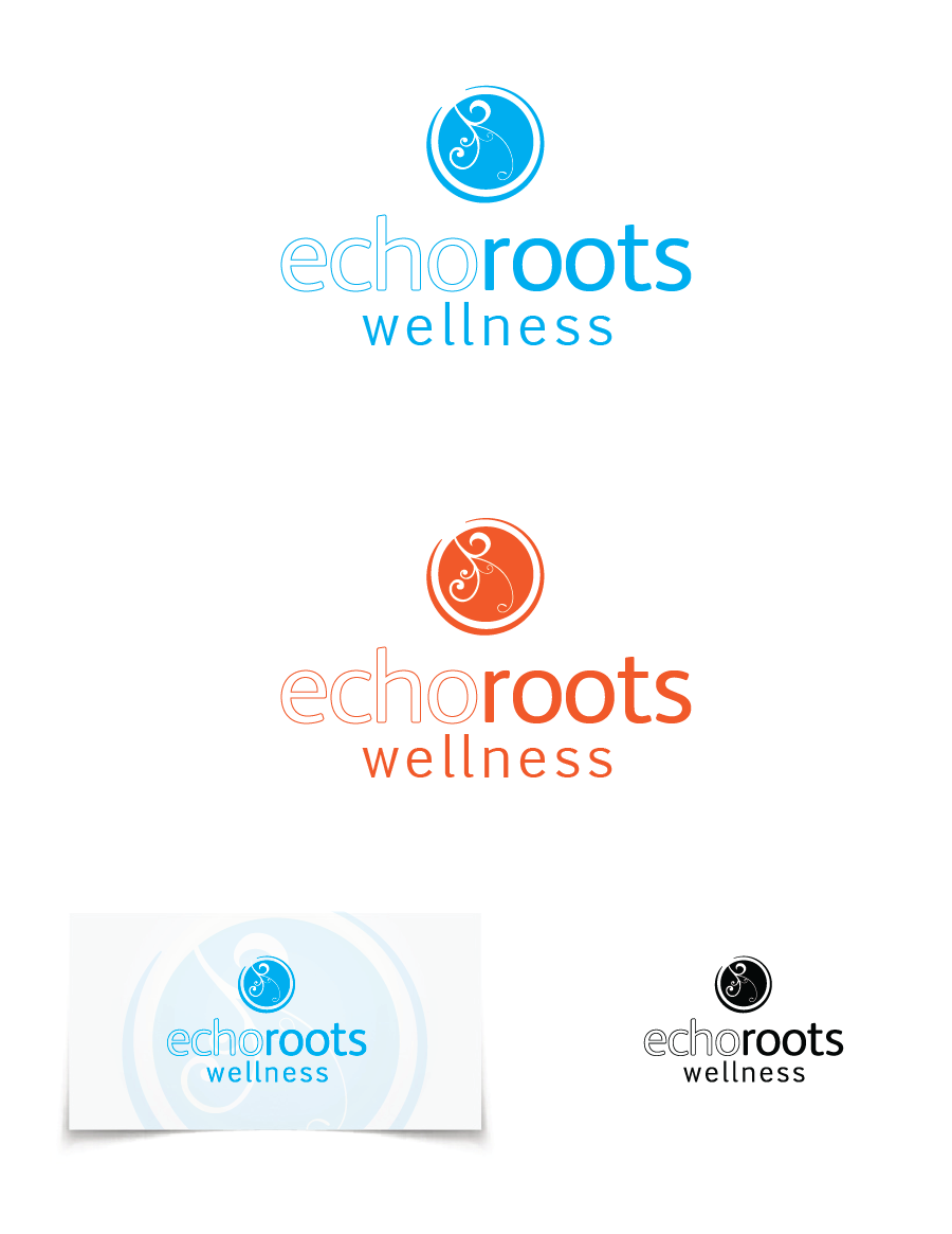 Logo Design by Christina Evans - Entry No. 69 in the Logo Design Contest Funky Logo Design for Echo Roots Wellness.