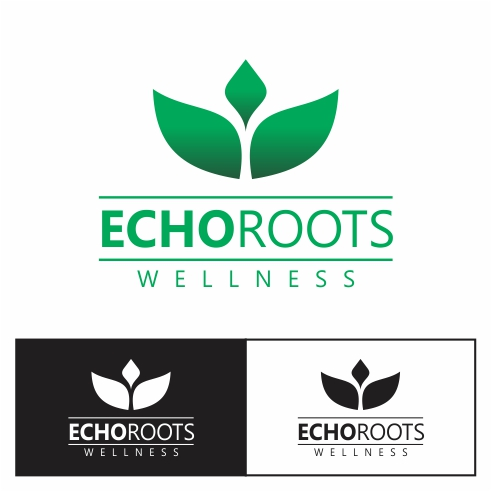 Logo Design by gdfd - Entry No. 86 in the Logo Design Contest Funky Logo Design for Echo Roots Wellness.
