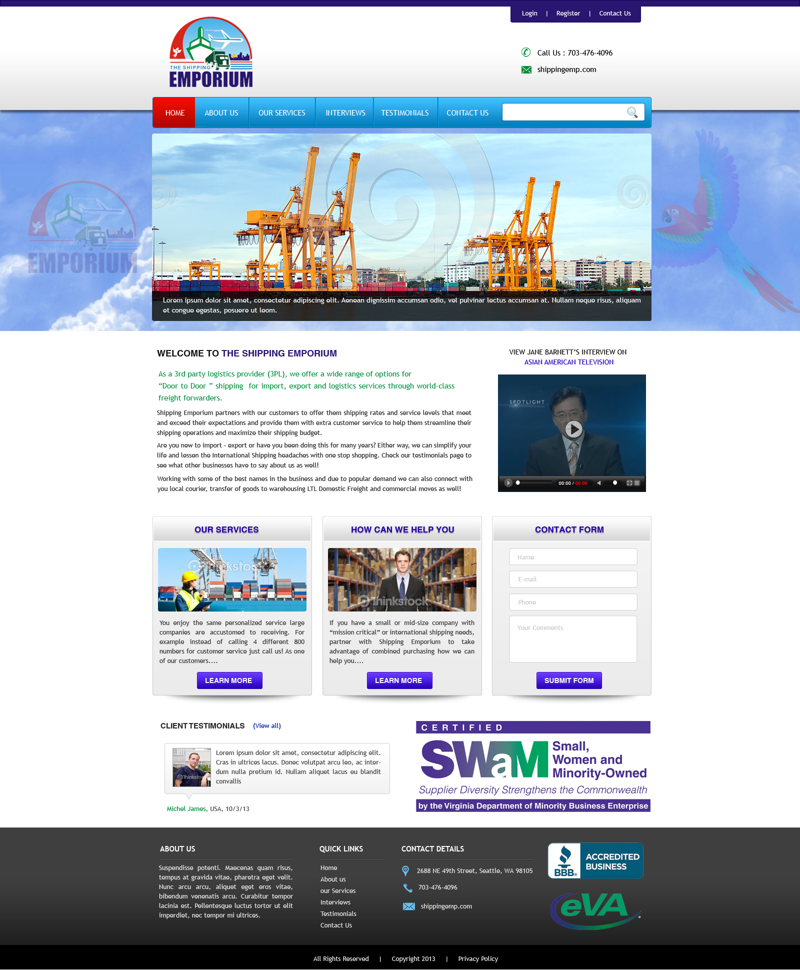Web Page Design by Vishwa Km - Entry No. 2 in the Web Page Design Contest Artistic Web Page Design for The Shipping Emporium Website.