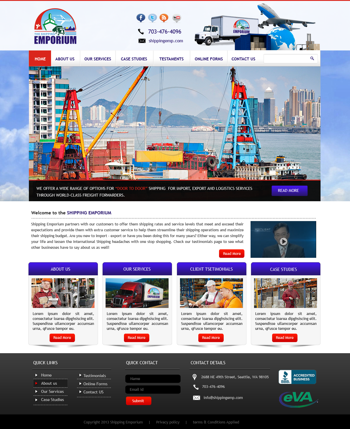 Web Page Design by Vishwa Km - Entry No. 16 in the Web Page Design Contest Artistic Web Page Design for The Shipping Emporium Website.