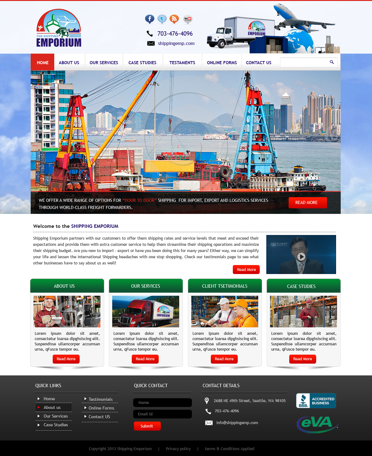 Web Page Design by Vishwa Km - Entry No. 17 in the Web Page Design Contest Artistic Web Page Design for The Shipping Emporium Website.
