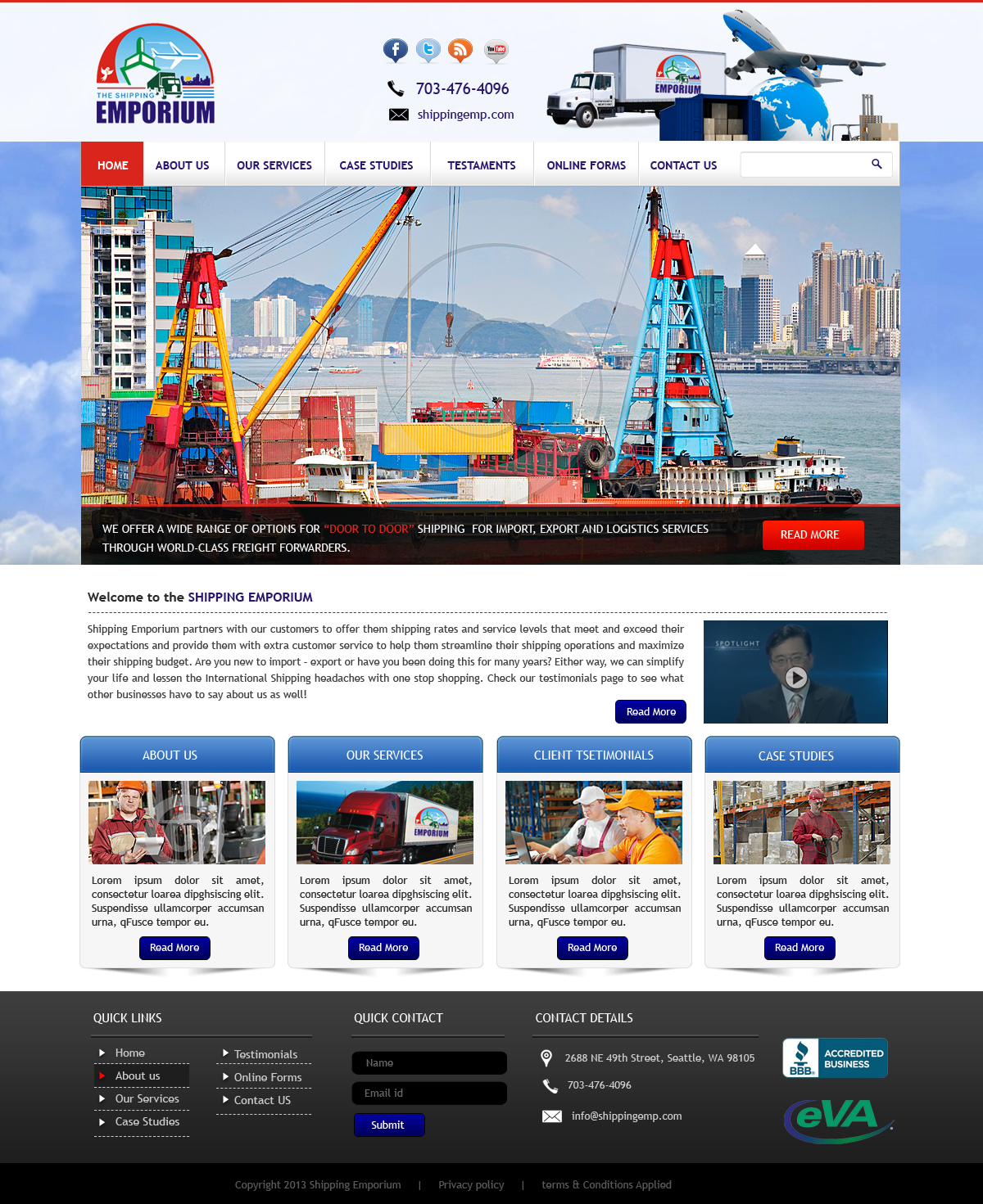 Web Page Design by Vishwa Km - Entry No. 18 in the Web Page Design Contest Artistic Web Page Design for The Shipping Emporium Website.