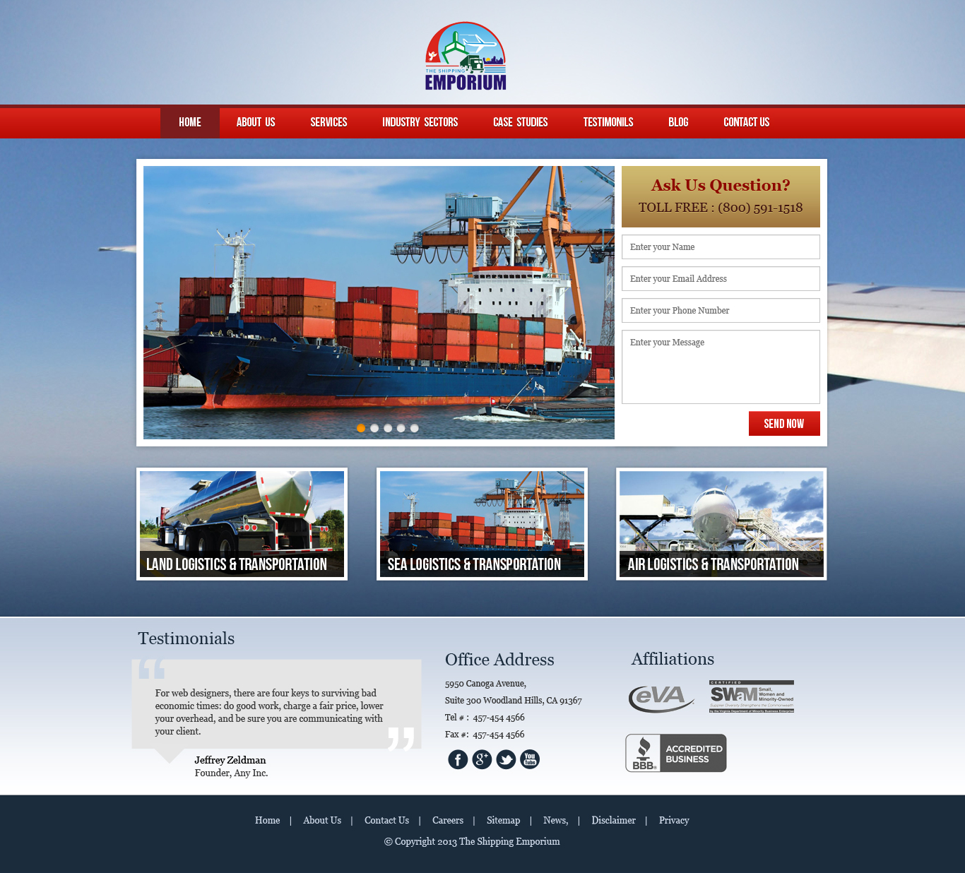 Web Page Design by Emad A Zyed - Entry No. 23 in the Web Page Design Contest Artistic Web Page Design for The Shipping Emporium Website.