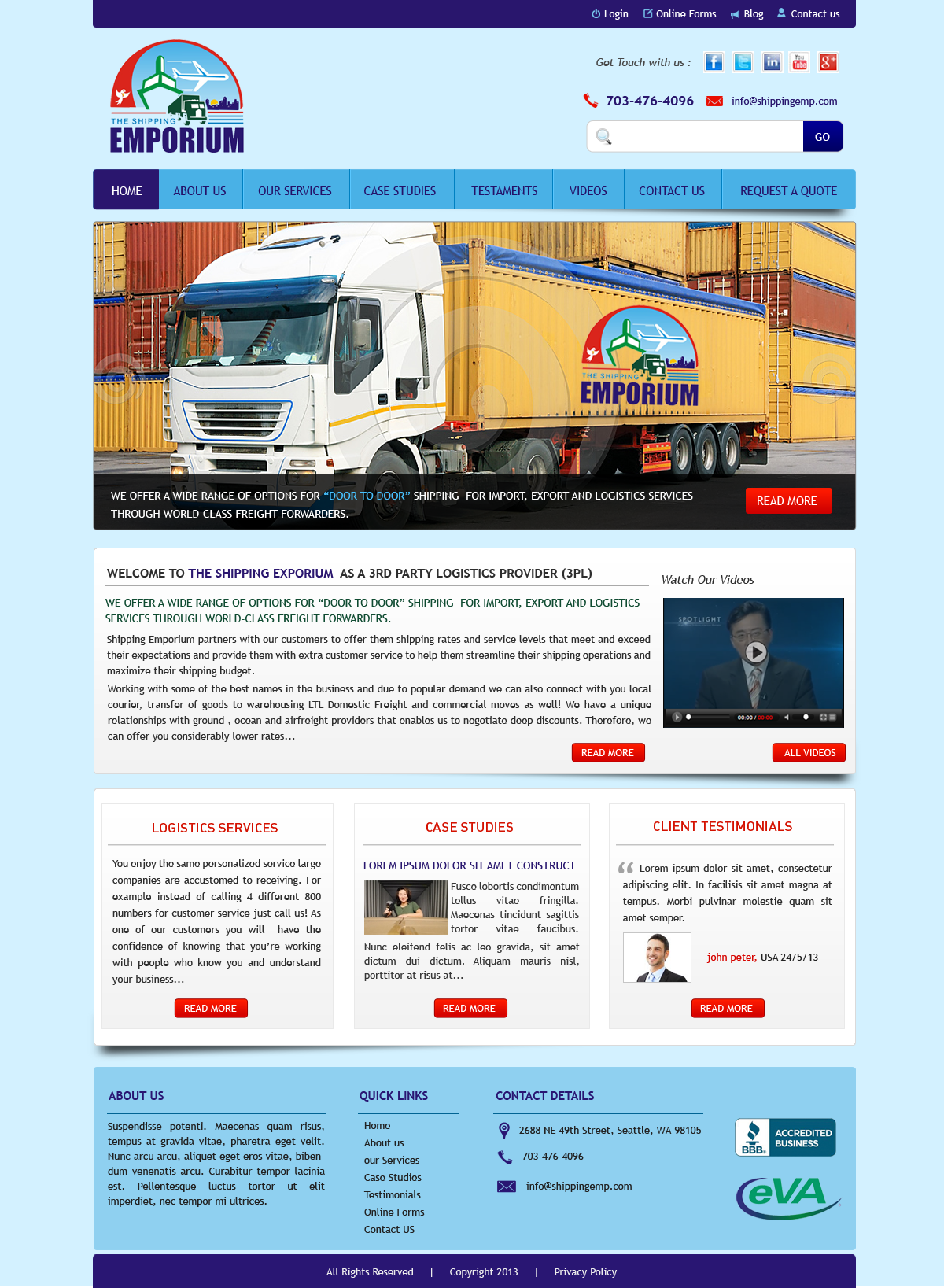 Web Page Design by Vishwa Km - Entry No. 26 in the Web Page Design Contest Artistic Web Page Design for The Shipping Emporium Website.