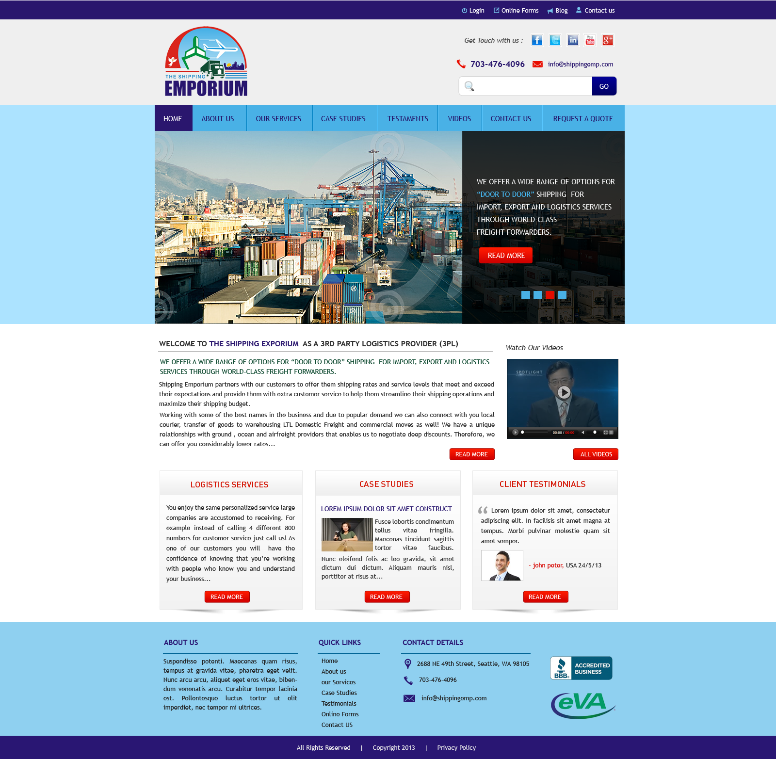 Web Page Design by Vishwa Km - Entry No. 27 in the Web Page Design Contest Artistic Web Page Design for The Shipping Emporium Website.