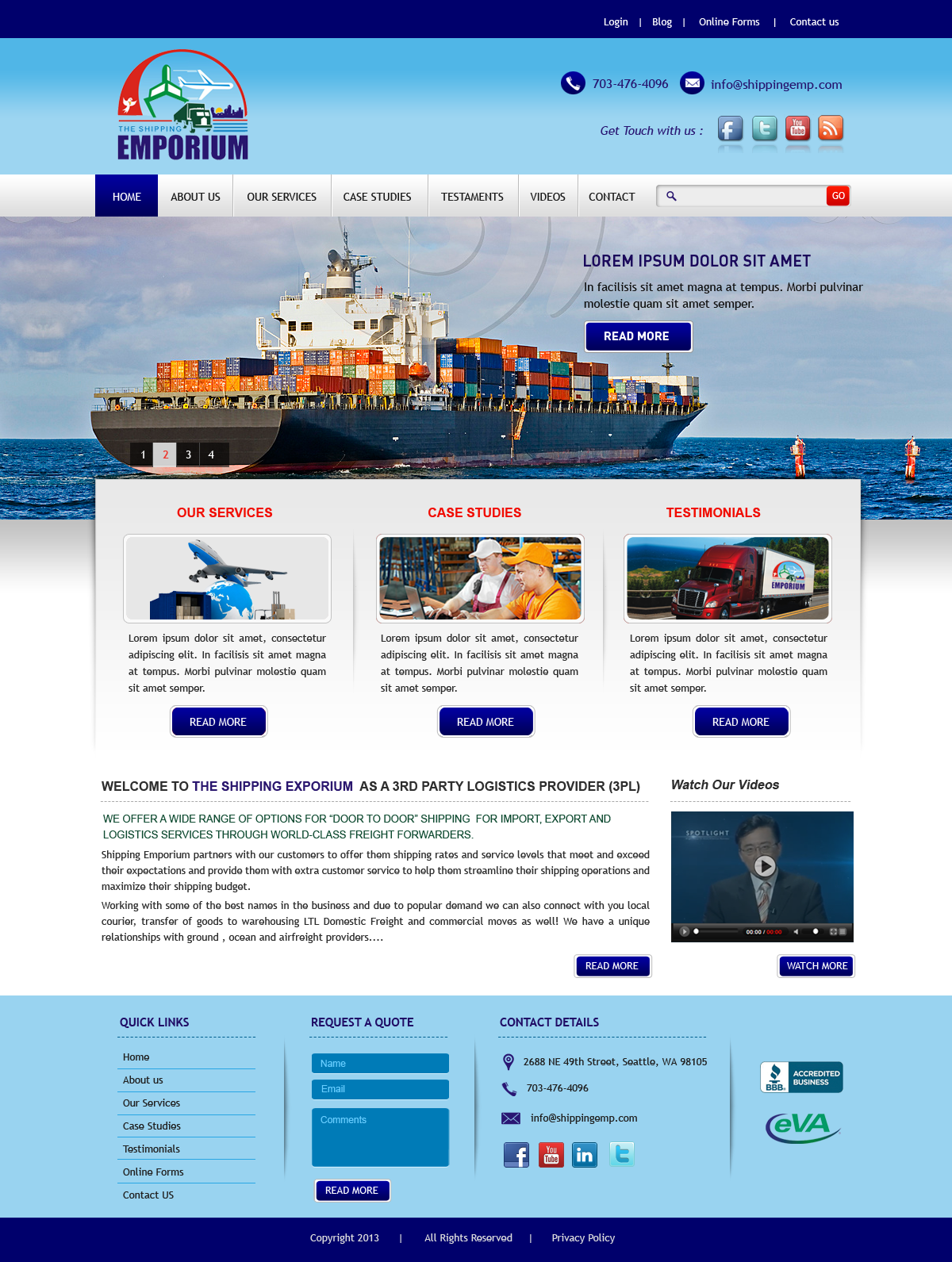 Web Page Design by Vishwa Km - Entry No. 30 in the Web Page Design Contest Artistic Web Page Design for The Shipping Emporium Website.